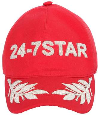 2780c2765fa ... at Luisaviaroma DSQUARED2 Embroidered Canvas Baseball Hat
