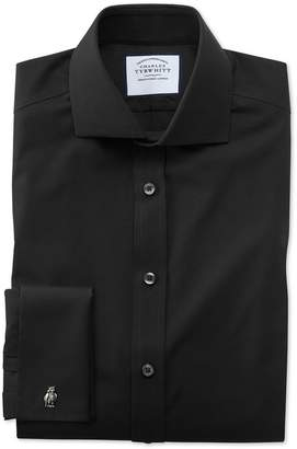 Charles Tyrwhitt Slim Fit Black Non-Iron Poplin Cotton Dress Shirt French Cuff Size 15/34