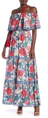 Flying Tomato Off-the-Shoulder Patterned Maxi Dress