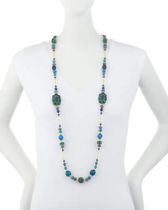Jose & Maria Barrera Long Cinnabar & Agate Beaded Necklace