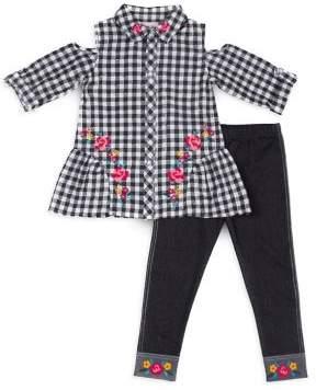 Little Lass Little Girl's Two-Piece Plaid Cotton Top and Leggings Set