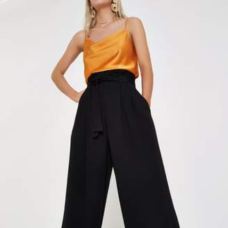 River Island Womens Petite black paperbag waist wide leg pants