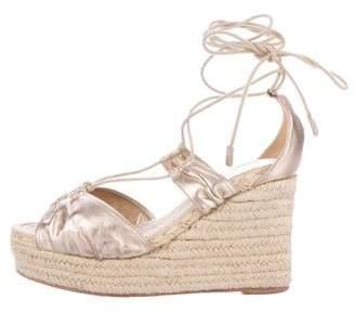 Hermes Metallic Espadrille Wedge Sandals