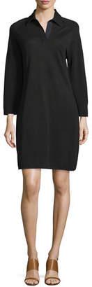 Joan Vass 3/4-Sleeve Shirttail Pique Dress, Petite