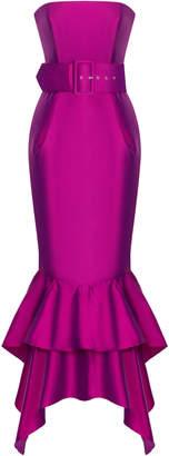 Rasario Silk Satin Strapless Gown