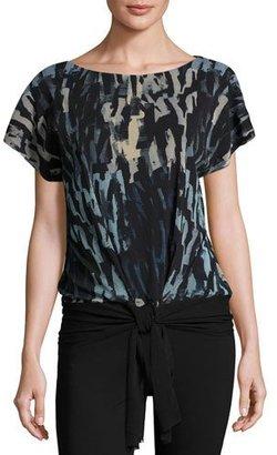Fuzzi Short-Sleeve Tie-Waist Abstract-Print Top, Black/Blue $350 thestylecure.com