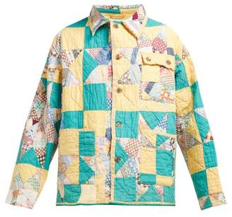 Bode - Patchwork Single Breasted Cotton Jacket - Womens - Green Multi