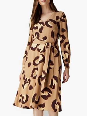 Jaeger Animal Print Waist Belt Dress, Camel