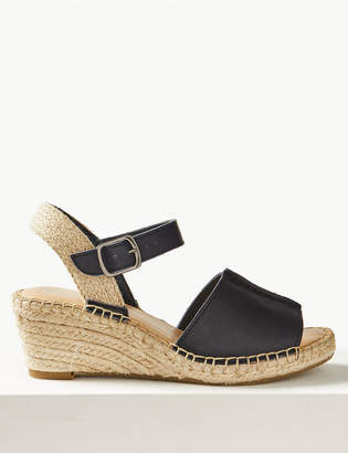 M S CollectionMarks and Spencer Leather Wedge Heel Espadrilles 6533ef45339da