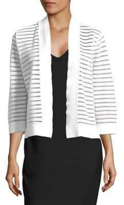 Nipon Boutique Striped Quarter-Sleeve Cardigan
