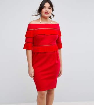 Asos Pleat & Ruffle Off Shoulder Dress