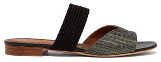 Malone Souliers Rodena Woven Raffia And Canvas Slides - Womens - Dark Grey