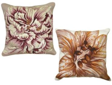 Peony or Lily Needlepoint Pillow