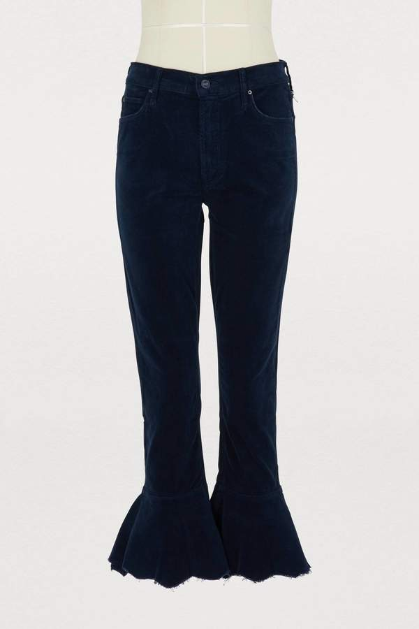 The ChaCha velvet cropped ruffle bootcut jeans