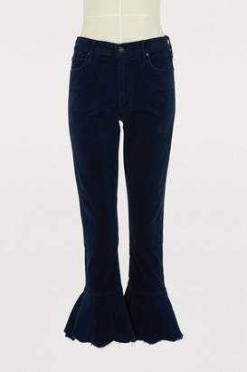 Mother The ChaCha velvet cropped ruffle bootcut jeans