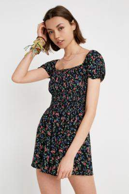 Urban Outfitters Sophia Floral Playsuit - black XS at