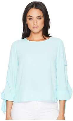 Vince Camuto Long Sleeve Tiered Tie Cuff Textured Blouse Women's Blouse