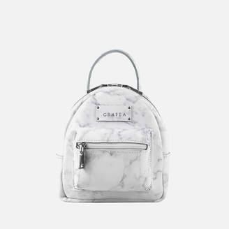 Grafea Women's Mini Zippy Marble Backpack - White Effect