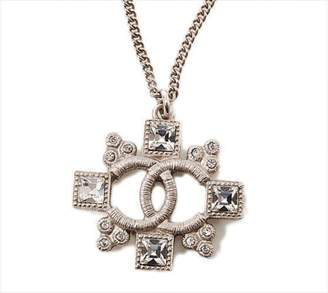 Chanel Coco Mark Silver Tone Hardware Rhinestone Pendant Necklace