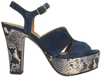 Chie Mihara Xiro Blue Soft Suede Sandals
