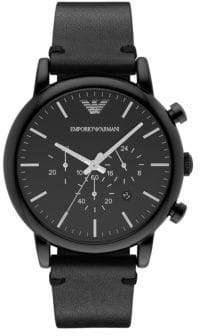 Emporio Armani Luigi Gunmetal Stainless Steel Black Leather Strap Chronograph, AR1918