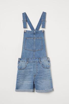 H&M Denim Bib Overall Shorts - Blue