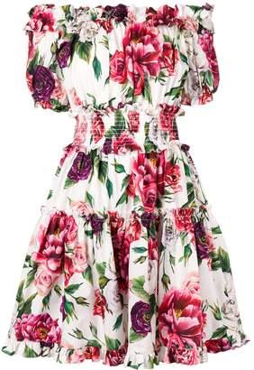 Dolce & Gabbana Off-Shoulder Floral Print Dress