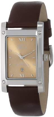 gino franco Men's 949BR Square Stainless Steel Genuine Leather Strap Watch