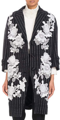 Andrew Gn Three-Button Metallic-Pinstripe Coat with Floral Lace Applique