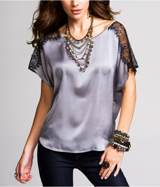 Lace-Inset Dolman Top