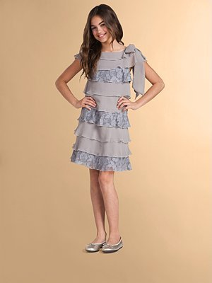 Blush Lingerie Girl's Tiered Lace and Ruffle Dress