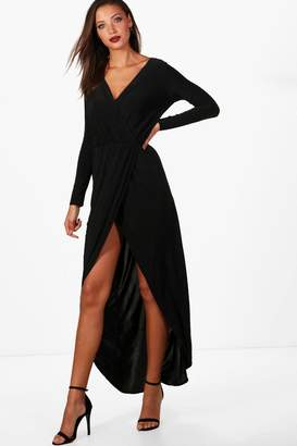 boohoo Tall Slinky Wrap Maxi Dress