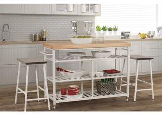 Hillsdale Furniture Kennon Kitchen Cart and Two Counter Height Stools in White Metal and Natural Finish Wood Top