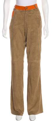 Just Cavalli Suede High-Rise Flared Pants