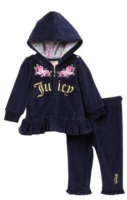 Juicy Couture Navy Velour Floral Hoodie & Pants Set (Baby Girls 12-24M)