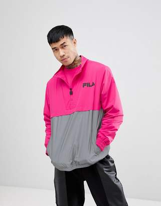 Fila black line overhead jacket with reflective panel in pink