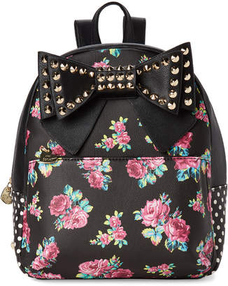 Betsey Johnson Striped Studded Floral Backpack