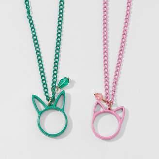 Cat & Jack Girls' 2pk Bunny & Cat BFF Pendant Necklaces One Size