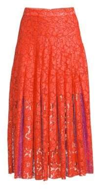 Diane von Furstenberg Women's Gardenia Box Pleat Lace Midi Skirt - Orange - Size 0