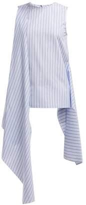 Joseph Alicia Panelled Asymmetric Cotton Top - Womens - Blue Stripe