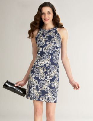 Petite Banded Neck Paisley Print Sheath Dress