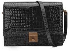 Bottega Veneta Crocodile Flap Shoulder Bag, Black