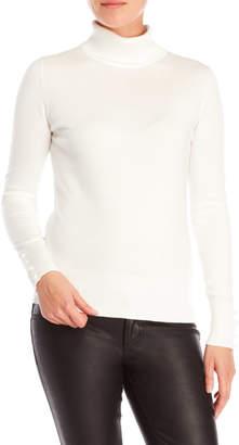 Cable & Gauge Button Cuff Turtleneck Sweater