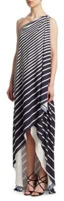 Halston One Shoulder Wrap Dress