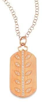 Devon Woodhill Vine Diamond& 18K Rose Gold Modern Dog Tag Locket