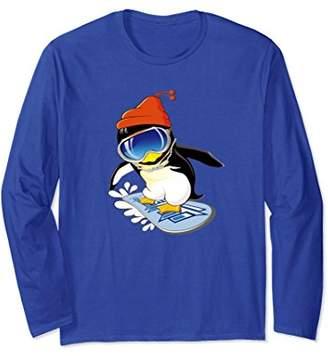 Original Penguin Cute Penguin Snowboarding Surfer Winter Hat Long Sleeve Tee