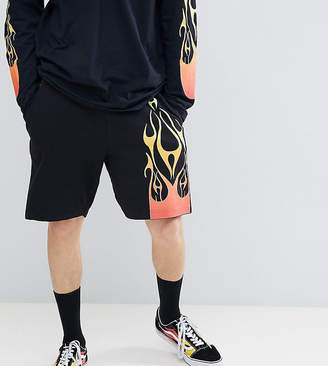 Reclaimed Vintage Inspired Jersey Shorts With Flame Print