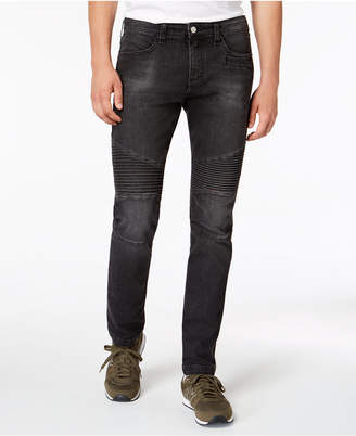 Armani Exchange Men's Slim-Fit Black Moto Jeans