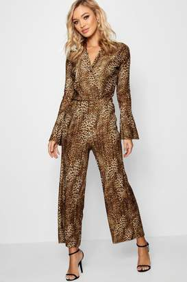 boohoo Sarah Leopard Plisse Flare Sleeve Culotte Jumpsuit