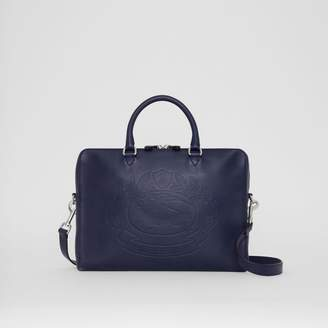 Burberry Embossed Crest Leather Briefcase, Blue